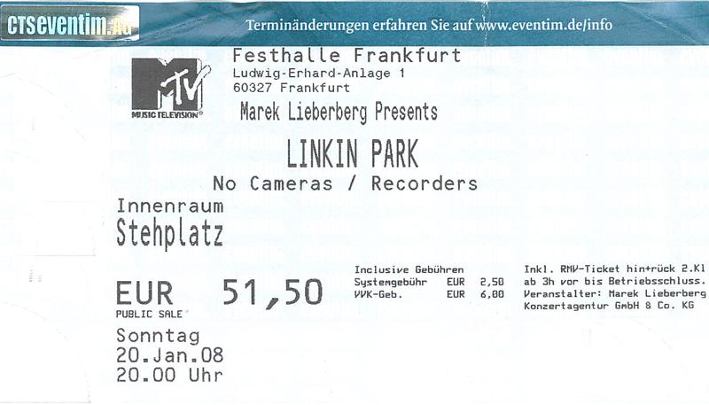 Linkin Park Kozertkarte